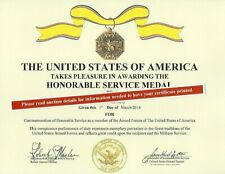 The Honorable Service Replacement Certificate Army Navy Air Force Marines