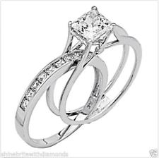 2 CT PRINCESA CORTE 2 piezas Juego de anillo de compromiso de boda de oro blanco sólido 14K