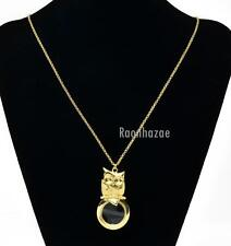 "Gold 5X Magnifying Glass Baby Owl Pendant 31"" Chain Necklace SJ026G"