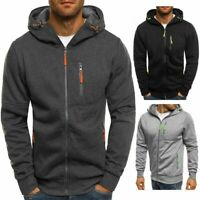 Men's Solid Full Zip Up Hoodie Classic Hooded Zipper Sweatshirt Jacket Coat Tops