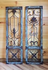 Distressed Antique Vintage French Wood Metal Garden Gate Door Set/2  Wall Panel