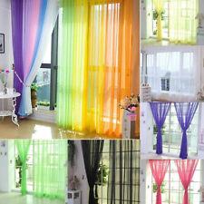 1/2X Rod Pocket Sheer Curtain Organza Voile Tulle Window Curtain Drape 2 Size AU