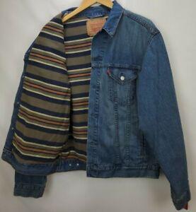 Vintage Levi Strauss Mens Blanket Lined Denim Trucker Jacket Large Relaxed 70518