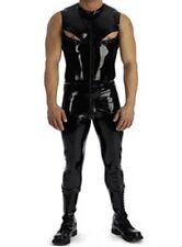 100% Latex Gummi T-shirt Pants Catsuit 0.45mm Bodysuit Breast Zip Uniform Unique