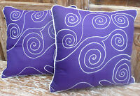 Cotton Cushion Covers Purple White Hand Made Swirl Embroidery (pair) 40cm