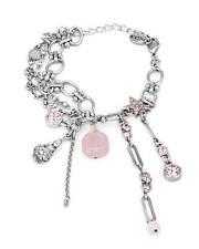 PILGRIM Skanderborg Pink Crystal Faux Gem Silver Bracelet Buddha on Lotus Flower
