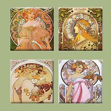 Set of 4 Ceramic tile magnet refrigerator Art nouveau Apfhonse Mucha  #001