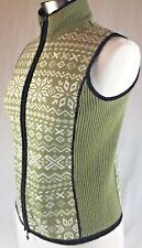 Zip Up Wool Vest Women's Size Small to Medium Tyrolean Pattern Green White VTG