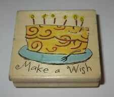 Make A Wish Rubber Stamp Birthday Cake Candles Plate Fork Uptown Swirls Party