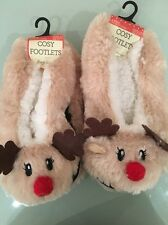 Cute Reindeer Christmas Footlet Slippers  6 7 8 Fleece Ladies Stocking Filler