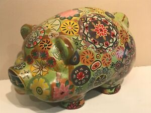 Vintage Hippy Trippy Pottery PIGGY BANK Psychedelic Retro Flower Power - Lage