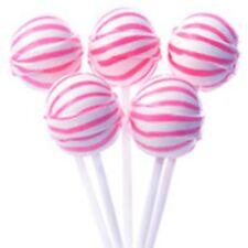 Strawberry Sassy Spheres Suckers Pink & White Striped Petite Ball Lollipop 100ct