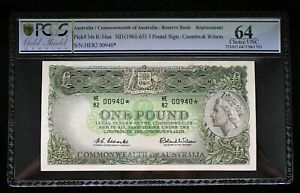 1961 One Pound Star Note Prefix HE82 Coombs Wilson PCGS Choice Uncirculated 64