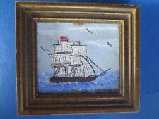 SALE MINIATURE DOLLHOUSE signed oil painting sailboat vintage picture 1:12