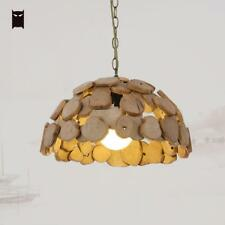 Wooden Pendant Light Fixture Vintage Retro Handmade Hanging Ceiling Lamp Design