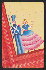 1 Single VINTAGE Swap/Playing Card SOLDIER & LADY ID 'PRESENT ARMS CO-8-43'