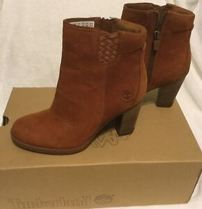 TIMBERLAND WOMEN BROWN LEATHER BOOTS Sz 7 Waterproof Coñac Earth keepers