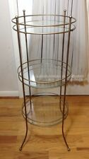 Vintage End Or Side Table Glass Metal 3 - Tier Shelf Round Stand