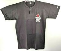Vintage Georgia Bulldogs Logo Wilson Mens XL Henley Tee T Shirt Black New 90s