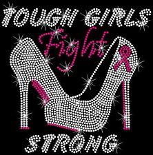Tough Fight Heels Breast Cancer Ribbon Hotfix Iron On Rhinestone Shirt Transfer
