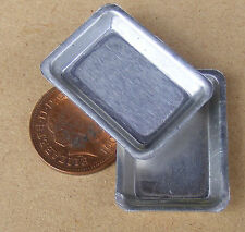 1:12 Scale 2 Small Metal Baking Tin Trays Tumdee Dolls House Food Accessory