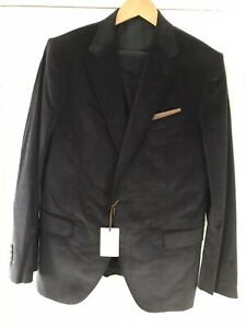 €1500 Caruso Suit Size 52 Navy Cord 3 Piece Stretch 2 Bttn  Notch Lapel Bnwt