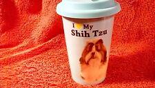 "Travel coffee cup ""I Love my Shih Tzu"" gently used"