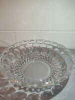 "Vtg Pressed Glass Serving Bowl with Cut Out Scalloped Edge 10.5""Dia x 3.5"" Tall"