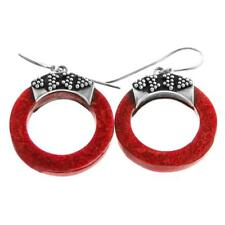 """1"""" ARTISAN ROUND RED CORAL 925 STERLING SILVER earrings"""