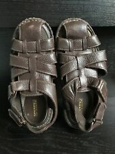 Sperry Top Sider Boys  Leather Brown Sandals Adjustable Straps Gibson   4 1/2 W