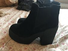 Black Truffle Ankle Boots Chunky Heel Size 5