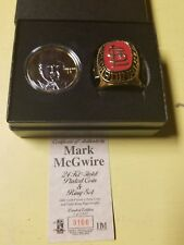 Mark Mcgwire Cardinals Highland Mint 24K Gold Plated Coin Team Ring Collectable