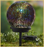Solar Light Star Gazing Glass Globe Ball Garden Stake Yard Walkway Outdoor Decor