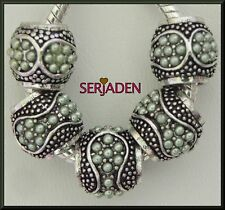 5 Green Stone Spacers Charm Fits European Style Jewelry 10 * 11 & 5 mm Hole R101