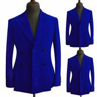 Royal Blue Velvet Prom Dinner Blazer Men's Formal Wedding Groom Tuxedos Suit