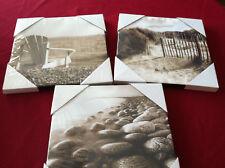 "Set of 3 10"" x 10"" Pictures Beach Water Rocks Sand  Ocean Scenes Canvas Prints"