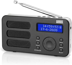 August MB225 - Portables 2W DAB+ Radio mit Akku Dual-Wecker (geprüfte B-Ware)