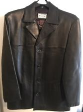 Reilly Olmes Four Button Black Leather Jacket w/Thinsulate Lining Size M