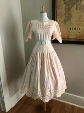Vintage Petal Pink Eyelet Victorian Wedding Maxi Sun DRESS Edwardian Day Dress
