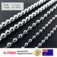 Necklace Bracelet Chain Genuine Real 925 Sterling Silver S/F Bead Ball Design