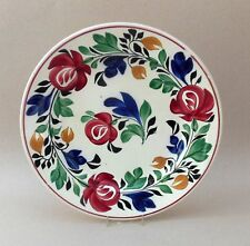 Antique Hand Painted Pottery Plate ~ Adams Rose / Persian Rose Stick Spatterware