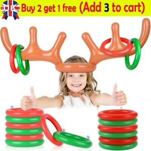 Inflatable Reindeer Antler Toss Hoopla Xmas Gift Christmas Party Game Moose Toy