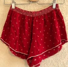 brandy melville red floral high waisted ruffled trim ross shorts XS/S