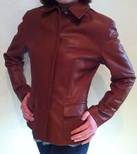 DOLCE & GABBANA Cocoa Brown Classic Leather Jacket~Size 6