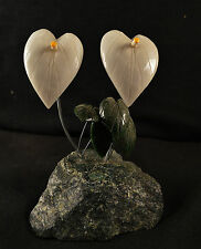 Fleurs en Onyx et serpentine sculpture en pierre fleur 348g