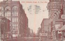 WABASHA STREET ST. PAUL MINNESOTA HIAWATHA TEMPLE POSTCARD 1916