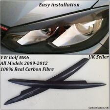 VW Golf MK6 Real Carbon Fibre Headlight Eyebrows/Eyelids All Models 2009-2012