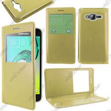 Housse Coque Etui L-View PU Cuir Or / Doré Samsung Galaxy J3 2016 SM-J320F