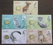 2011 BUSH BABIES FULL SET 5 STAMP FIRST DAY COVER PERTH MINT $1 COIN PNC's
