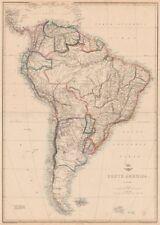"""América del Sur"". la Plata Bolivia con litoral Nueva Granada. Ettling 1862 Mapa"